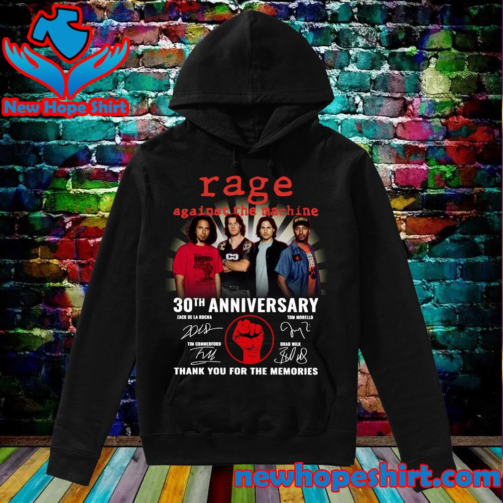 Official Rage Against The Machine 30th Anniversary Signatures Thank You For The Memories Shirt Hoodie