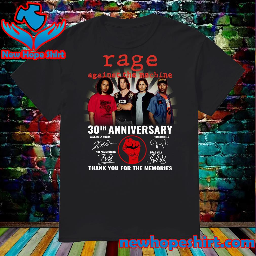 Official Rage Against The Machine 30th Anniversary Signatures Thank You For The Memories Shirt