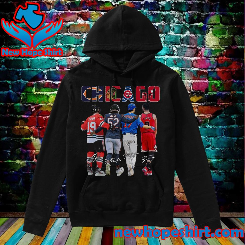 Chicago Sports Team Signatures With Chicago Bears, Chicago Blackhawks, Chicago Cubs, Chicago Bulls Shirt Hoodie
