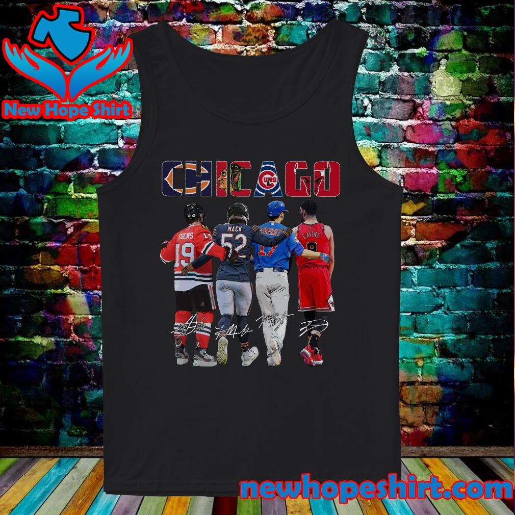 Chicago Sports Team Signatures With Chicago Bears, Chicago Blackhawks, Chicago Cubs, Chicago Bulls Shirt Tank-Top