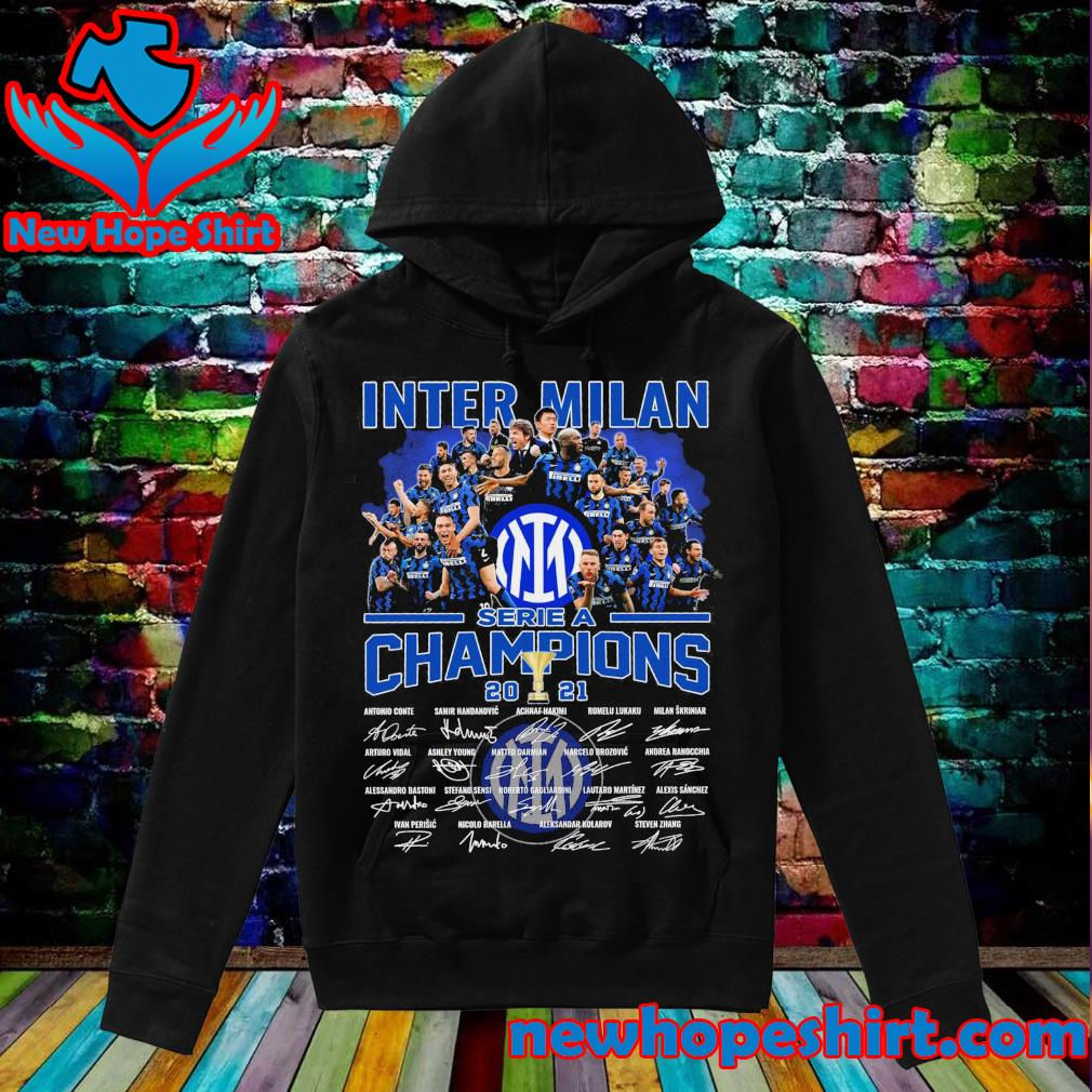 Inter Milan serie A Champions 2021 signatures s Hoodie