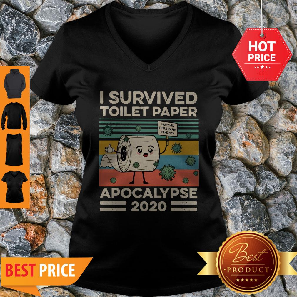 Covid 19 I Survived The Great Toilet Paper Apocalypse 2020 Vintage V-neck